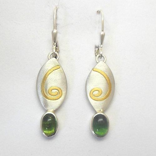 Ohrringe mit Turmalin, Silber, Gold, handgefertigt   T 1