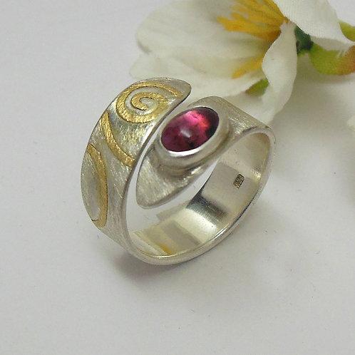 Ring mit rotem Turmalin, Ring mit rotem Stein, einstellbar