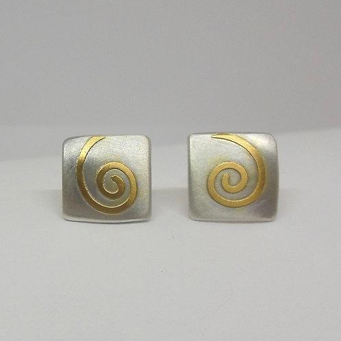 Ohrstecker aus Silber Gold, Motiv Spirale      O