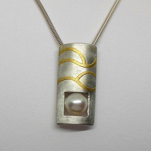 Halsschmuck mit Perle, Silberanhänger mit Perle