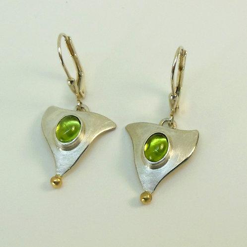Hängeohrringe mit Peridot, Ohrringe mit grünen Steinen