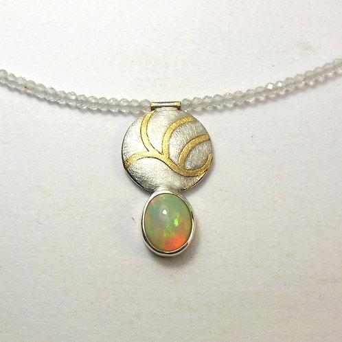 Halskette mit Opal Anhänger, Collier mit Opalanhänger