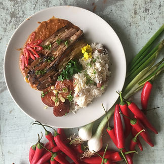 Jamaican beef brisket with rice and peas