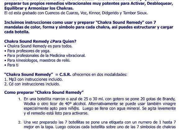 instrucciones de uso del Chakra Sound Remedy