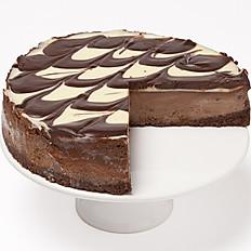 White and dark chocolate truffle cheesecake