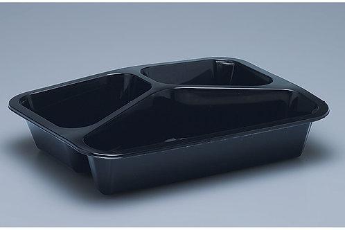 Menuschale PP, schwarz, 296 Stk. 22.7x17.7x4.5cm, 3-teilig