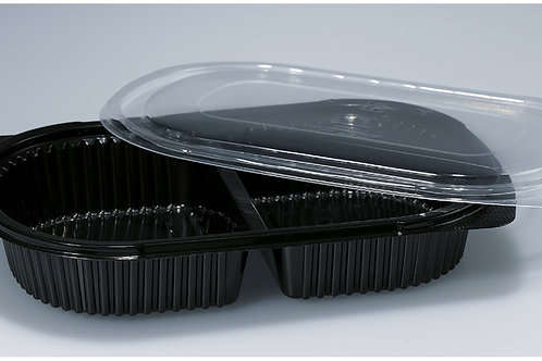Menuschale PP, schwarz, 400 Stk. 24x15.5x4cm, 2-teilig