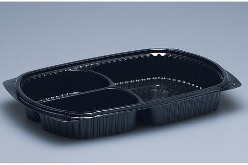 Menuschale PP, schwarz, 500 Stk. 25.8x18.3x3.6cm, 3-teilig