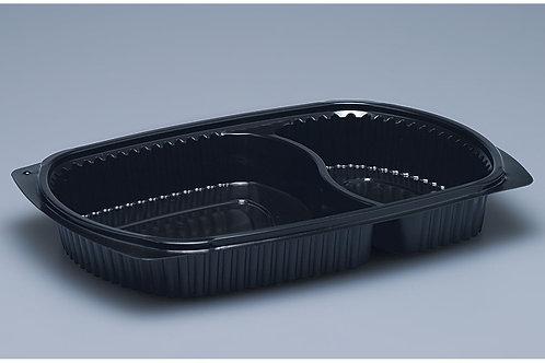Menuschale PP, schwarz, 500 Stk. 25.8x18.3x3.6cm, 2-teilig