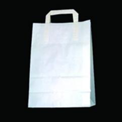 Papiertragtaschen, weiss mit Klotzboden,300 Stk. 22+11x31cm