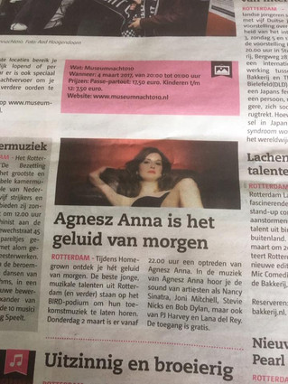 """Agnesz Anna is tomorrow's sound"" Dutch Newspaper Metro."