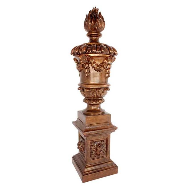 P2223 Coade Stone Plame Urn & Plinth Set