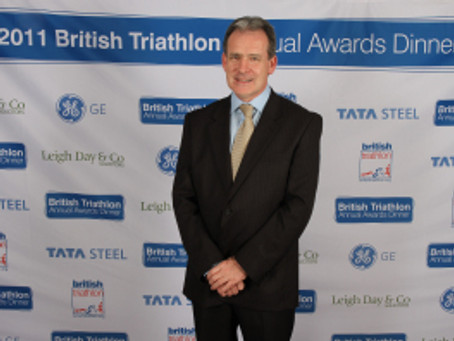 Norman Brook presented British Triathlon's Gold Pin Award
