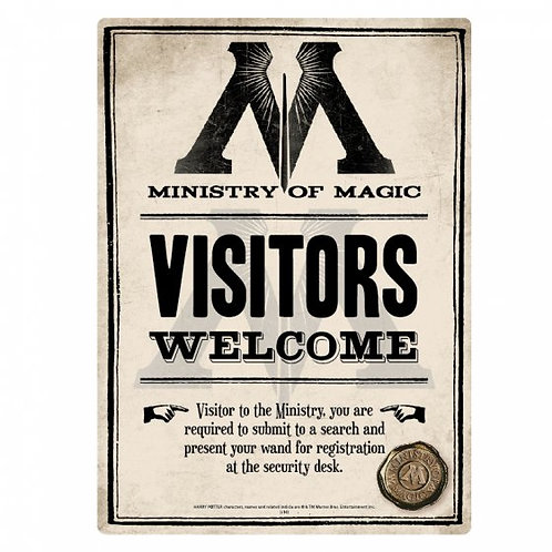 Harry Potter Tin Sign - Ministry of Magic Visitors Welcome