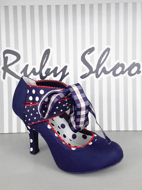 Ruby Shoo Aisha Navy Blue White & Red Polka Dot