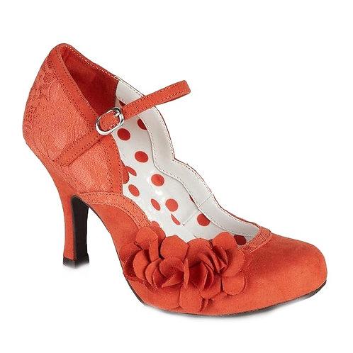Ruby Shoo Raina High heeled bar shoe with flower trim in Russett