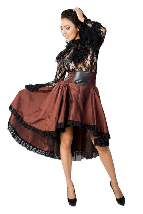 Burleska Julia high low skirt in brass taffeta