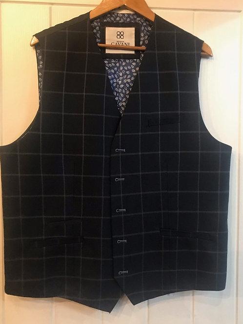 Cavani Macy Navy Check Waistcoat
