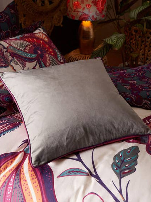 Joe Browns Jumbo Velvet Reversible Cushion - Plum / Grey