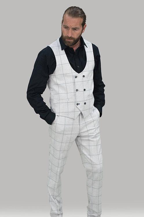 Cavani Radika Slim Fit Light Grey Check Waistcoat