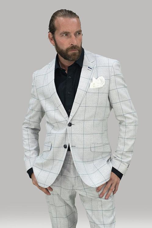 Cavani Radika Slim Fit Light Grey Check Jacket