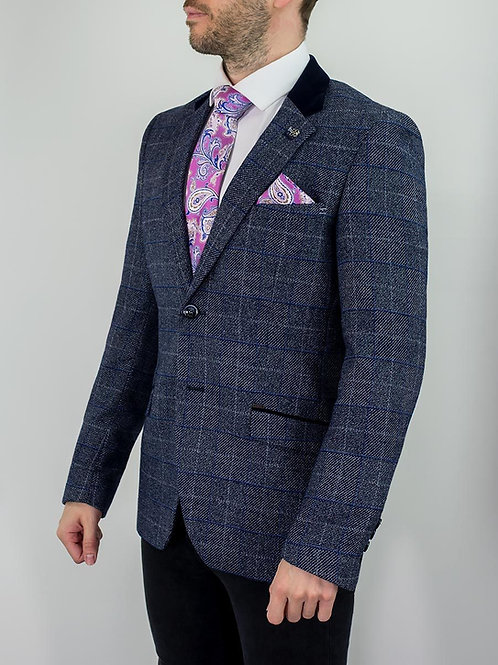 Cavani Miles Navy Blue Check Tweed Blazer