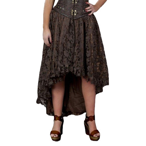 Burleska Elizium long burlesque skirt in brown satin & brown lace overlay