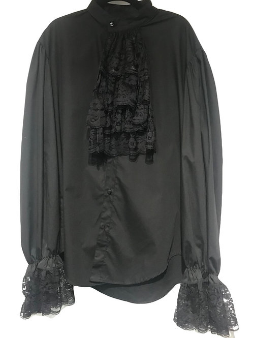 Steam Punk Black Lace Frill shirt