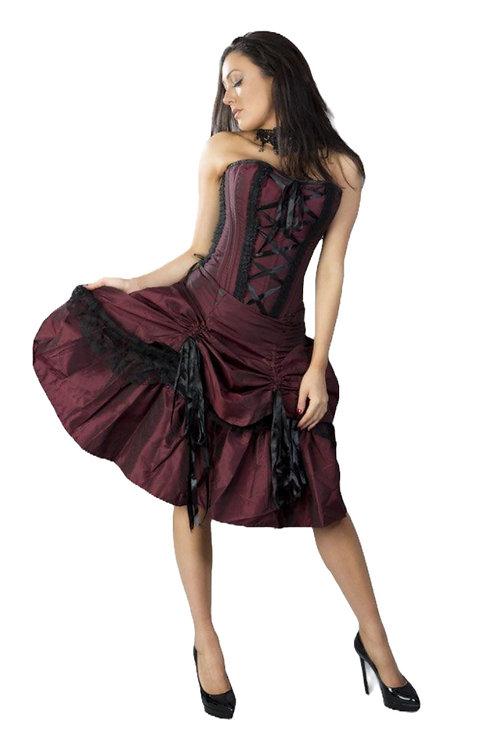 Burleska Angelina burgundy corset dress in taffeta