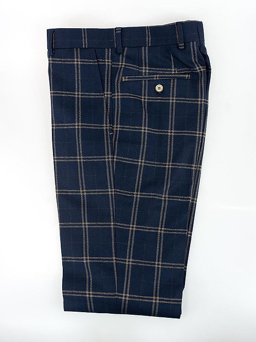 Cavani Hardy Navy Check Slim Fit Trousers