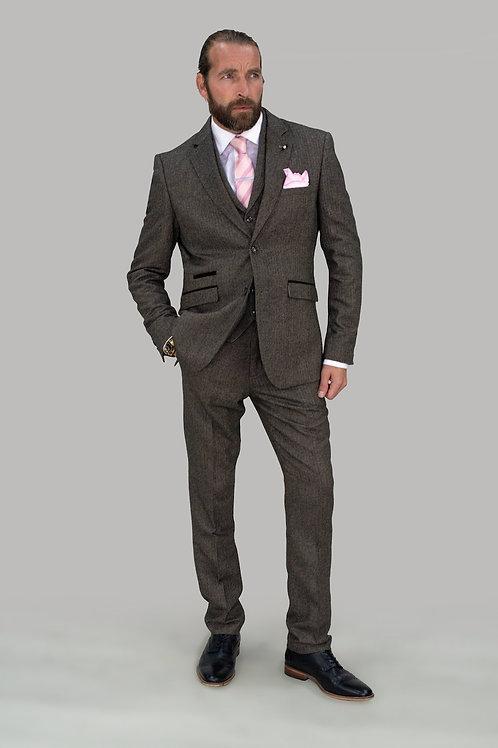 Cavani Martez Brown Tweed Slim Fit Blazer