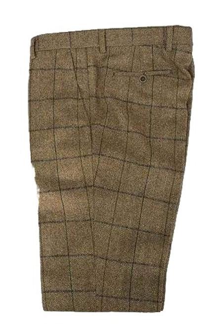 Cavani Sergio Tan Tweed Check Trousers