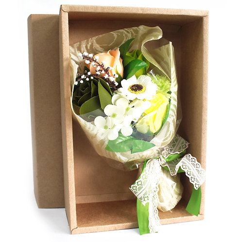 Boxed Hand Soap Flower Bouquet - Peach & Green