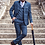 Thumbnail: Cavani Miles Navy Blue Tweed Check Trousers