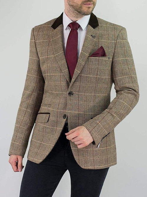 Cavani Baron Tweed Tan Men's Slim Fit Jacket