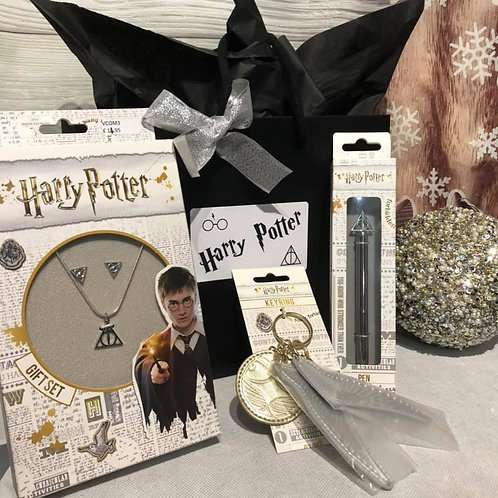 Harry Potter Gift Set - Snitch Keyring ,Necklace/Earring Set & Pen A2
