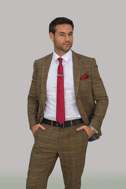 Cavani Albert Brown Tweed Check Blazer