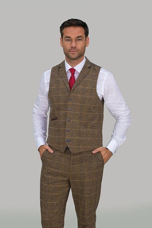 Cavani Albert Brown Tweed Check Waistcoat