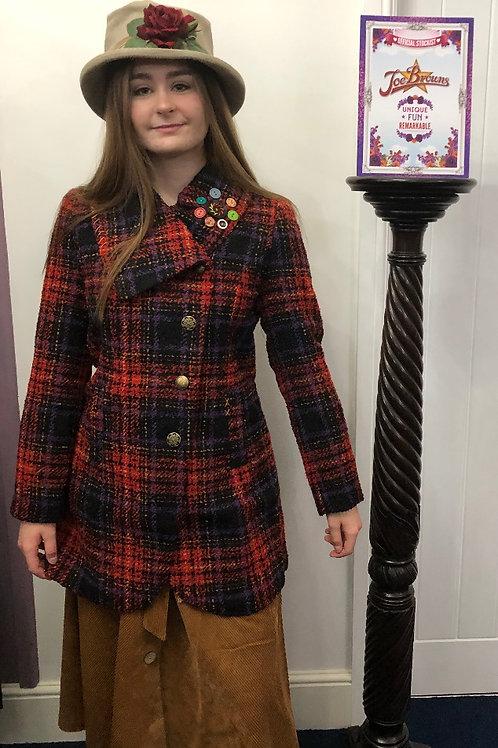Joe Browns Asymmetric Collar Coat Red Tartan