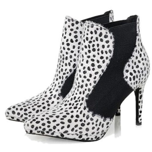 Ruby Shoo Blair stiletto pointed boot in Appaloosa White