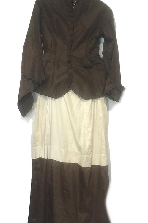 Original Victorian  Bustle Bodice & Skirt brown rough silk style