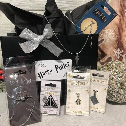 Harry Potter Gift Set - Charm Bracelet, Charms, Necklace & Pin Badge - A1