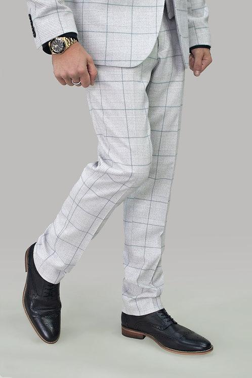 Cavani Radika Slim Fit Light Grey Check Trousers