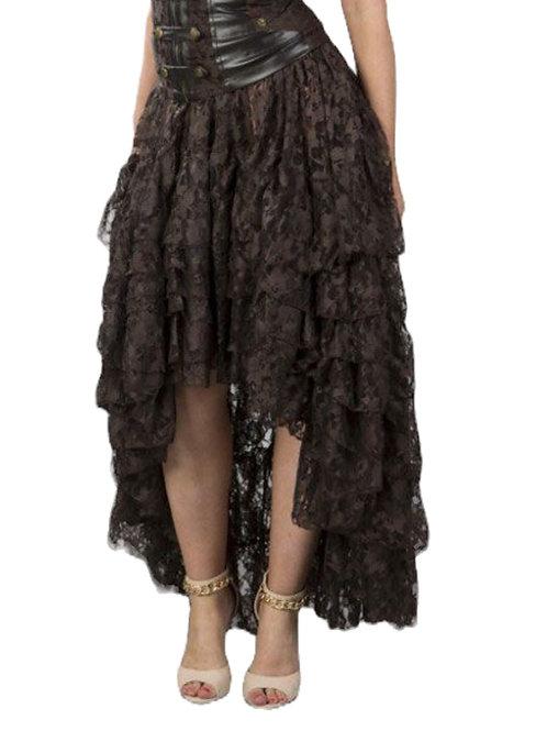 Burleska Amelia long burlesque skirt in brown lace