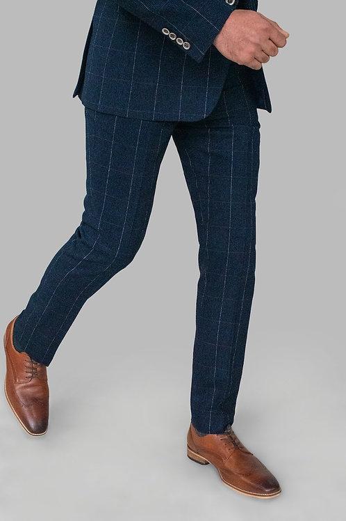 Cavani Angels Navy Check Tweed Trousers