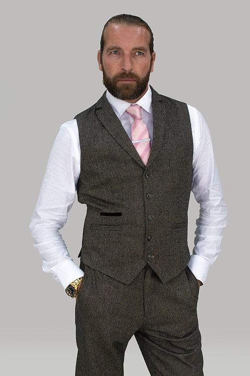 Cavani Martez Brown Tweed Waistcoat