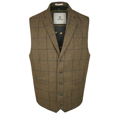 Cavani Sergio Tan Tweed Style Waistcoat