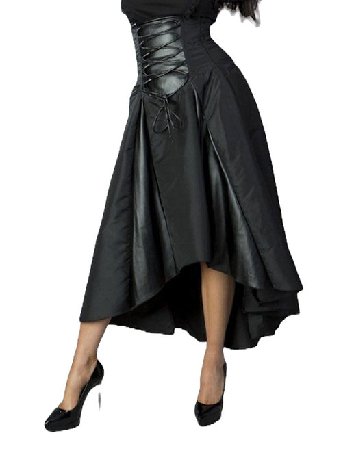 Burleska Clara high low skirt in black taffeta