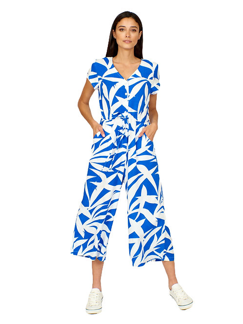 Pretty Vacant  Blue Palm Fronds Print Playsuit