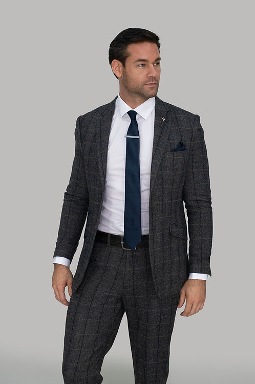 Cavani Albert Grey Tweed Check Blazer
